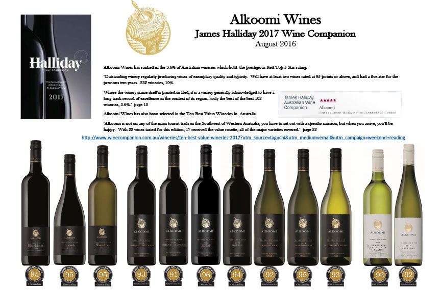 James Halliday's Alkoomi Wines Bottle Lineup 2017